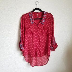 Free People Flowy High Low Collared Red Blouse Top